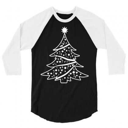 Christmas Tree 3/4 Sleeve Shirt Designed By Tee Shop
