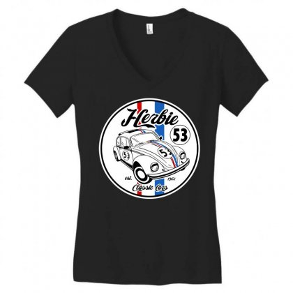 Classic Cars Women's V-neck T-shirt Designed By Tee Shop
