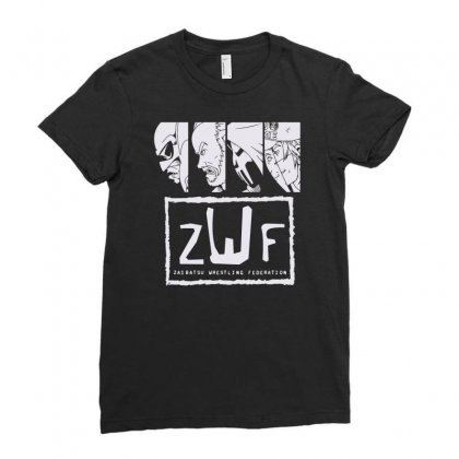 Zaibatsu Wrestling Federation 4 Life Ladies Fitted T-shirt Designed By Mdk Art