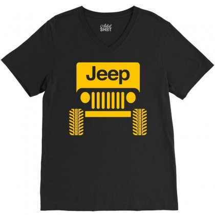 Cool Jeep V-neck Tee Designed By Tee Shop
