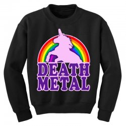 funny death metal unicorn rainbow Youth Sweatshirt | Artistshot