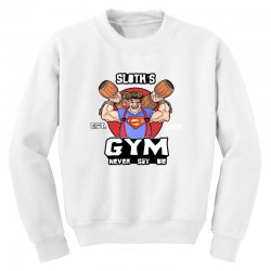 funny gym sloth the goonies fitness t shirt vectorized Youth Sweatshirt | Artistshot