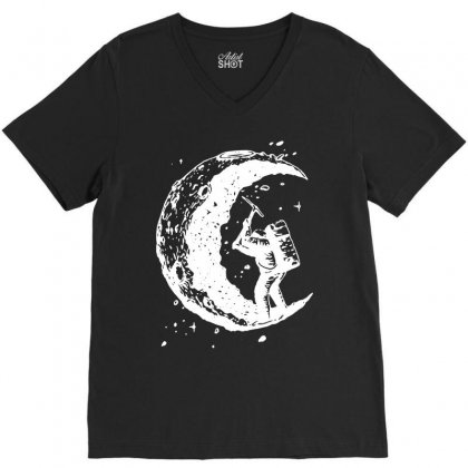 Digging The Moon Funny V-neck Tee Designed By Tee Shop