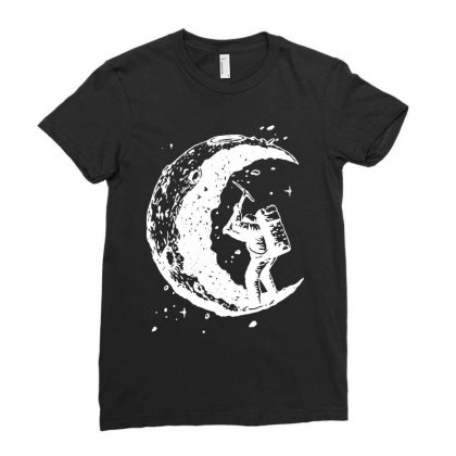 Digging The Moon Funny Ladies Fitted T-shirt Designed By Tee Shop