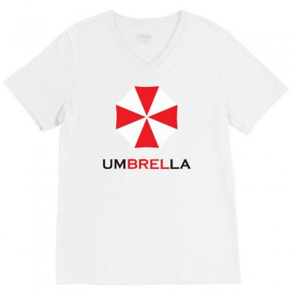 Resident Evil Logo Umbrella Corporation Zombie Videogames V-neck Tee Designed By Mdk Art