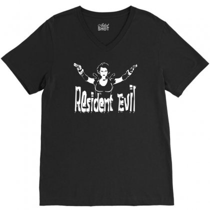 Alice  Resident ,fun V-neck Tee Designed By Mdk Art