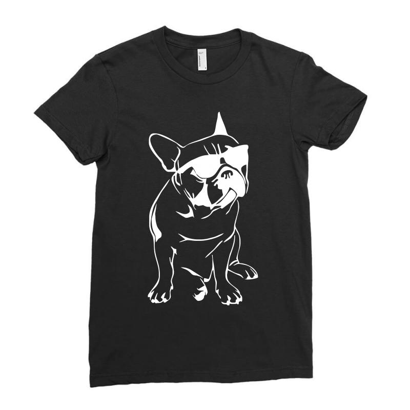 185571ec4 french bulldog sunglasses dog cat cute puppy animal gift tee Ladies Fitted T -Shirt