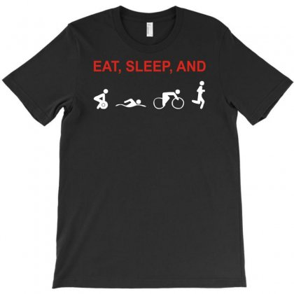Eat, Sleep & Train Triathlon Sports, Gym, Athletic T-shirt Designed By Mdk Art