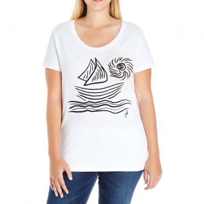 Sea And Sun Ladies Curvy T-shirt Designed By Issam