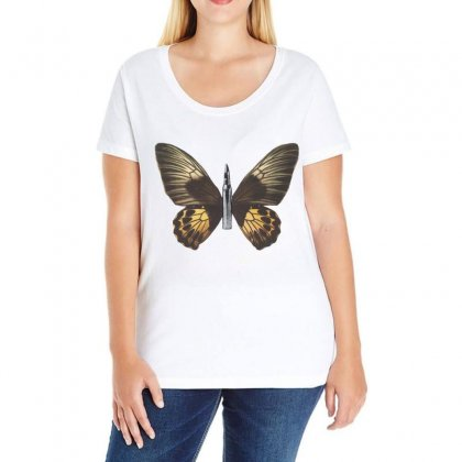 Bullet With Butterfly Wings Ladies Curvy T-shirt Designed By Art Pirate