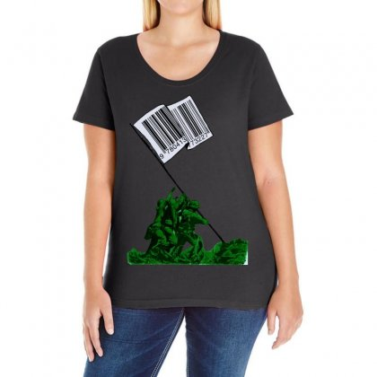 Raising The Flag Of Commerce Ladies Curvy T-shirt Designed By Art Pirate