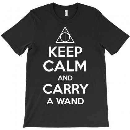 Keep Calm And Carry A Wand Harry Potter T-shirt Designed By Ikmal