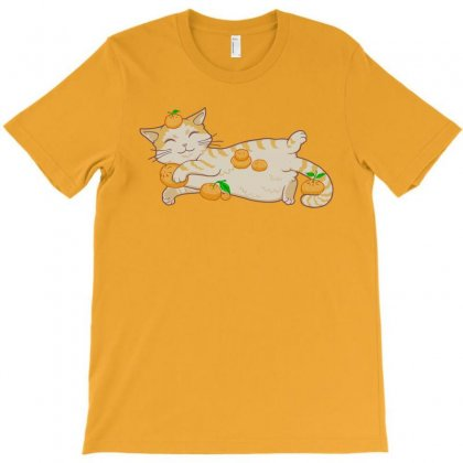 Happy Go Lucky Orange Cat T-shirt Designed By Jessysketches