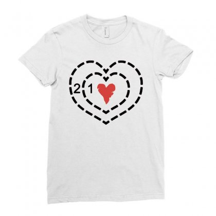 Heart Ladies Fitted T-shirt Designed By Blqs Apparel