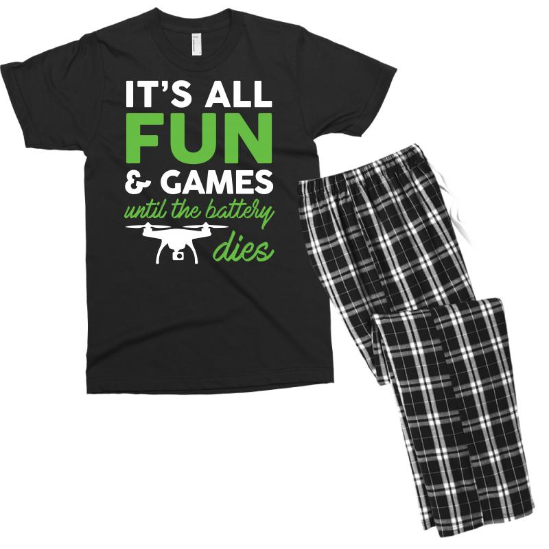 97e47e93 Custom It S All Fun And Games Funny Drone Pilot T Shirt Tee Men's T-shirt  Pajama Set By Hung - Artistshot