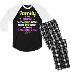 Family Is Like Music Some High Notes Somes Low Notes But Always A Beau Men's 3/4 Sleeve Pajama Set | Artistshot