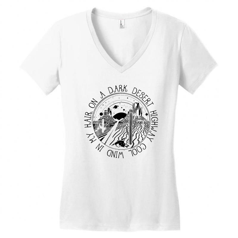 3b8354f8 Custom On A Dark Desert Highway Women's V-neck T-shirt By Blqs ...
