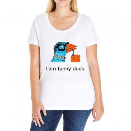 I Am Funny Duck Ladies Curvy T-shirt Designed By Issam
