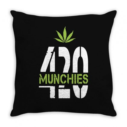 420 Munchies Weed Leaf Throw Pillow Designed By Mdk Art