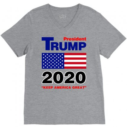 President Trump 2020 V-neck Tee Designed By Nurbetulk