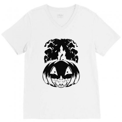 Halloween V-neck Tee Designed By Blqs Apparel