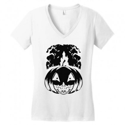 Halloween Women's V-neck T-shirt Designed By Blqs Apparel