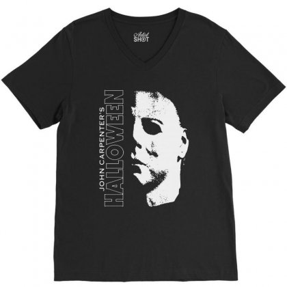 Halloween Michael Myers V-neck Tee Designed By Blqs Apparel