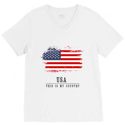 United States Of America V-neck Tee Designed By Chris Ceconello