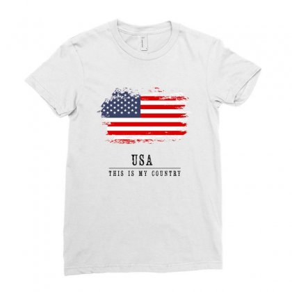 United States Of America Ladies Fitted T-shirt Designed By Chris Ceconello