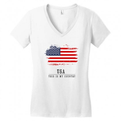 United States Of America Women's V-neck T-shirt Designed By Chris Ceconello
