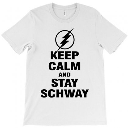 Keep Calm And Stay Schway Flash (black) T-shirt Designed By Black White