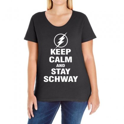 Keep Calm And Stay Schway Flash Ladies Curvy T-shirt Designed By Black White