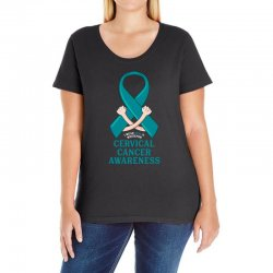 i wear teal and whitefor cervical cancer awareness for dark Ladies Curvy T-Shirt | Artistshot