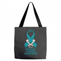 i wear teal and whitefor cervical cancer awareness for dark Tote Bags | Artistshot