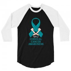 i wear teal and whitefor cervical cancer awareness for dark 3/4 Sleeve Shirt | Artistshot
