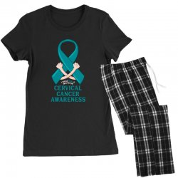 i wear teal and whitefor cervical cancer awareness for dark Women's Pajamas Set | Artistshot