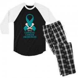 i wear teal and whitefor cervical cancer awareness for dark Men's 3/4 Sleeve Pajama Set | Artistshot