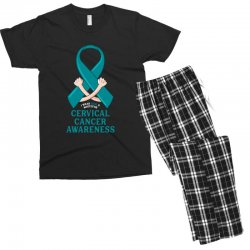 i wear teal and whitefor cervical cancer awareness for dark Men's T-shirt Pajama Set | Artistshot