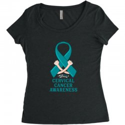 i wear teal and whitefor cervical cancer awareness for dark Women's Triblend Scoop T-shirt | Artistshot