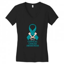 i wear teal and whitefor cervical cancer awareness for dark Women's V-Neck T-Shirt | Artistshot