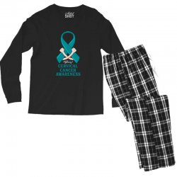 i wear teal and whitefor cervical cancer awareness for dark Men's Long Sleeve Pajama Set | Artistshot