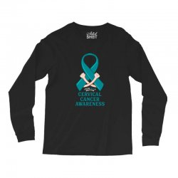 i wear teal and whitefor cervical cancer awareness for dark Long Sleeve Shirts | Artistshot