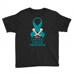 i wear teal and whitefor cervical cancer awareness for dark Youth Tee | Artistshot