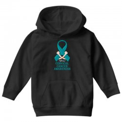 i wear teal and whitefor cervical cancer awareness for dark Youth Hoodie | Artistshot
