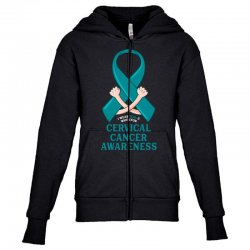 i wear teal and whitefor cervical cancer awareness for dark Youth Zipper Hoodie | Artistshot