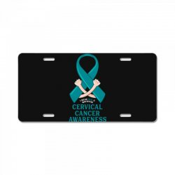 i wear teal and whitefor cervical cancer awareness for dark License Plate | Artistshot