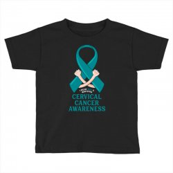 i wear teal and whitefor cervical cancer awareness for dark Toddler T-shirt | Artistshot
