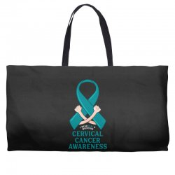i wear teal and whitefor cervical cancer awareness for dark Weekender Totes | Artistshot