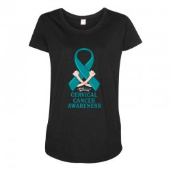i wear teal and whitefor cervical cancer awareness for dark Maternity Scoop Neck T-shirt | Artistshot
