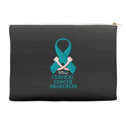 i wear teal and whitefor cervical cancer awareness for dark Accessory Pouches | Artistshot